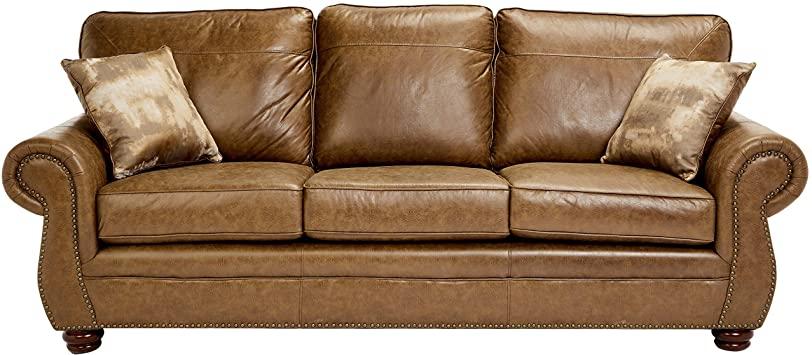 Amazon.com: Sunrise Coast Amadora Faux-Leather Sofa, Burnt Caramel .