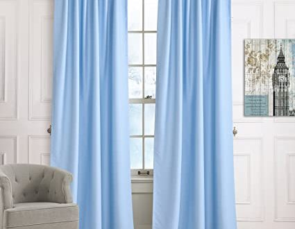 Amazon.com: Blackout Short Curtains Solid Light Blue Drapes .