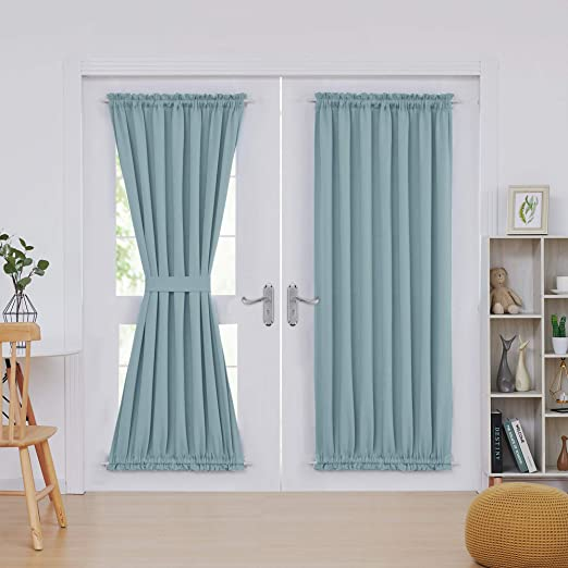 Amazon.com: Deconovo Rod Pocket Blackout Door Curtains Thermal .