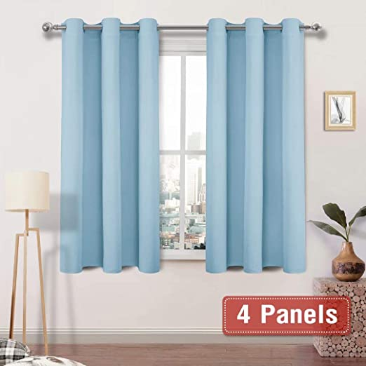 Amazon.com: DWCN Light Blue Blackout Curtains Room Darkening .