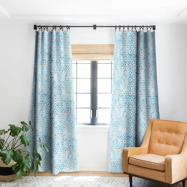 Shop Schatzi Brown Hara Tiles Light Blue Blackout Curtain Panel .