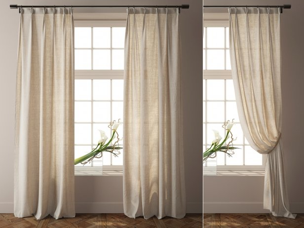 Country Solid Nature Linen Curtains 3d mod