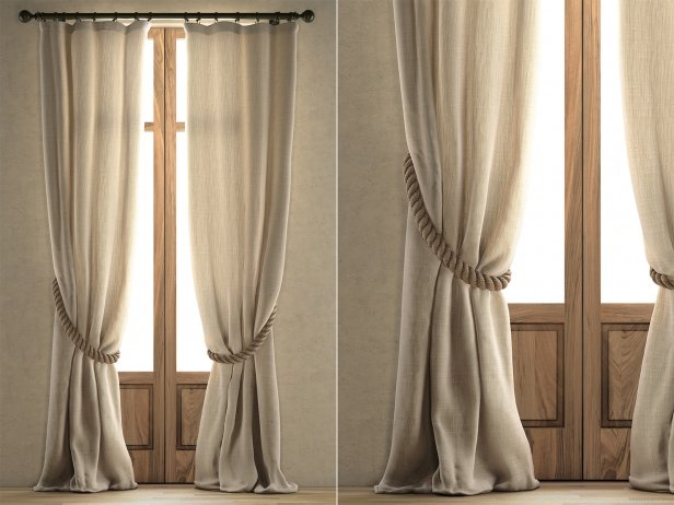 Sheer Belgian Linen Curtains 3d mod