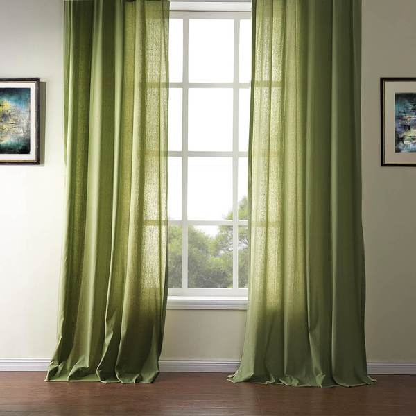 Green Linen Curtains and Drapes for Living Room Set of 2 Panels .