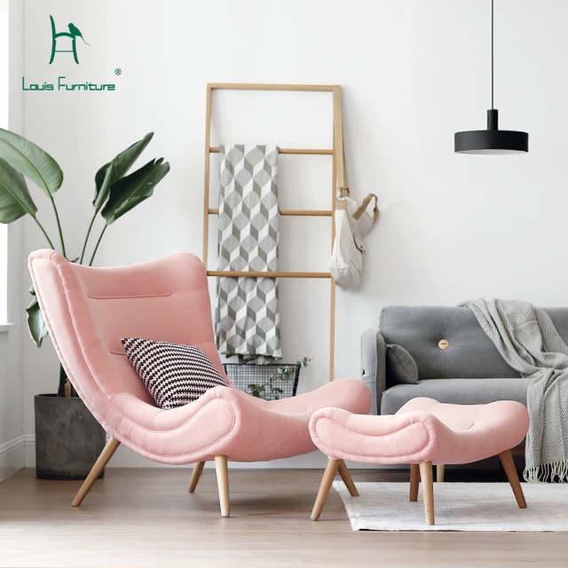 Louis Fashion Single Sofa Nordic Style Living Room Furniture Pink .