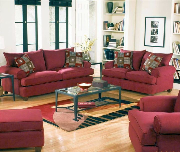 18 Maroon Living Room Furniture and Interior Design Ideas | Red .
