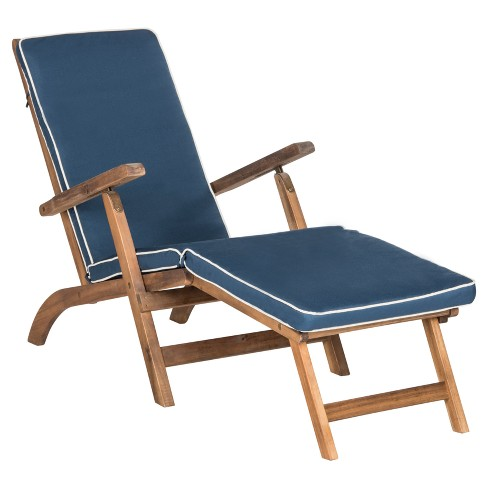 Palmdale Folding Lounge Chair - Teak Brown / Navy - Safavieh : Targ