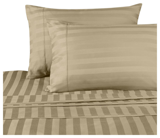 1500 Thread Count Egyptian Cotton Stripe Bed Sheet Set .