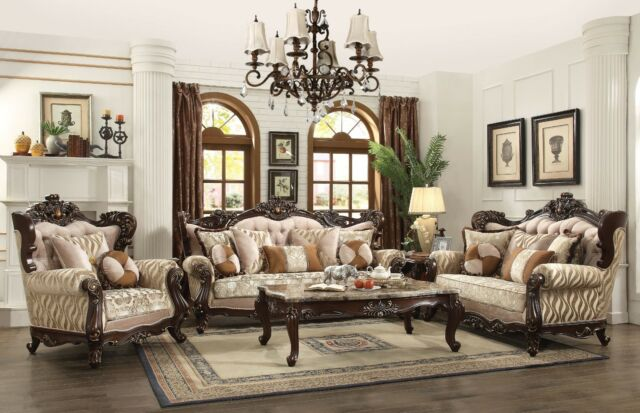 Traditional Luxury Living Room Furniture 3p Sofa Set Exposed .