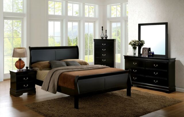1pc Queen Size Master Bedroom Furniture Set Solid Wood Veneer .