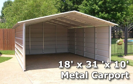 18' x 31 'x 10' Metal Carport & RV Cover with Side Walls .