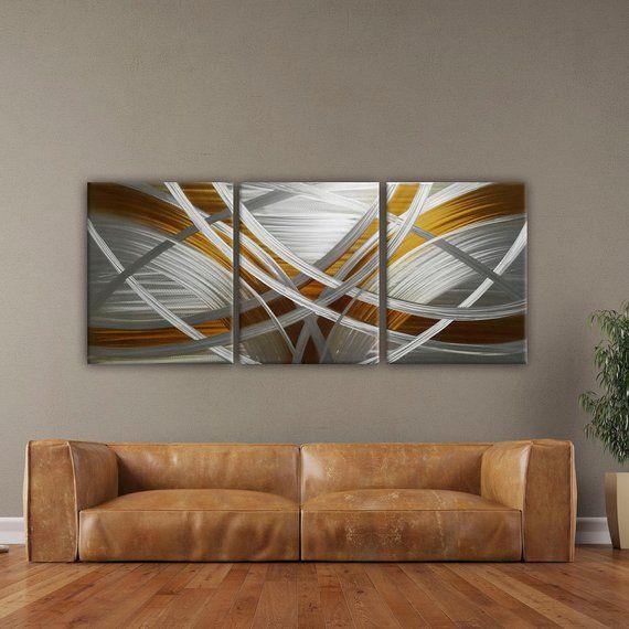 Modern Metal Wall Art, Modern Wall Sculpture, Gold Abstract Metal .