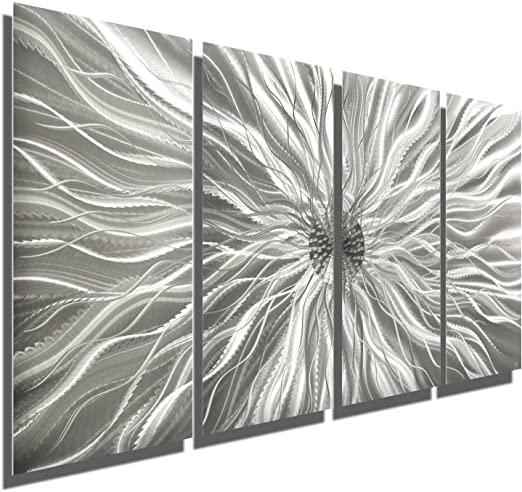 Amazon.com: Abstract Silver Metal Wall Art Sculpture - Multi-Panel .