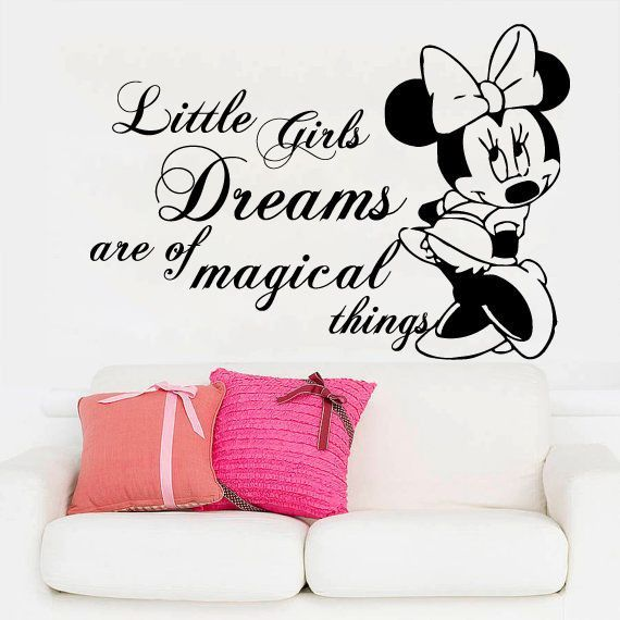 Minnie Mouse Wall Decals Quote Little Girls Dreams Vinyl Sticker .