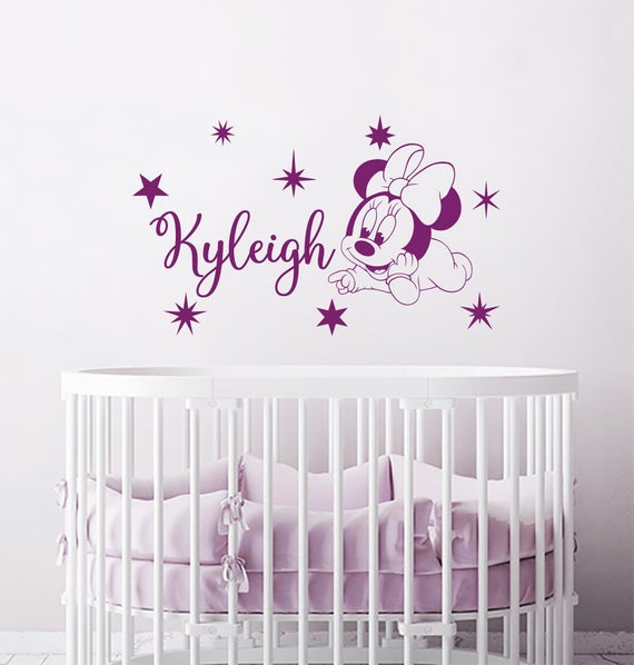 Minnie Mouse Wall Decal. Personalized Girl Name Vinyl | Et