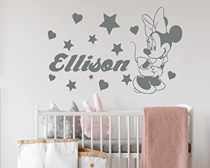 Amazon.com: Minnie Mouse Wall Decals Girl Personalized Name Decal .