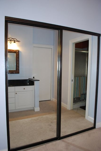 Closet Part 2 : Door Makeover | Sliding mirror closet doors .