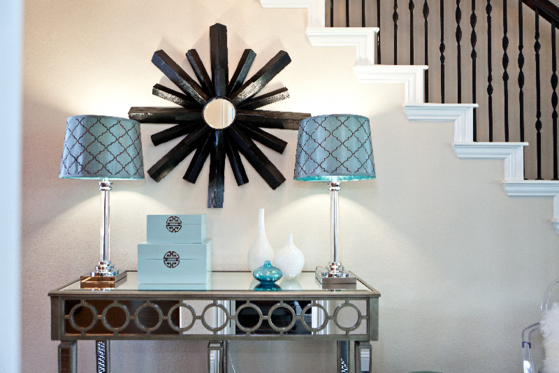 Inspired mirrored console in Living Room Eclectic with Lobby .