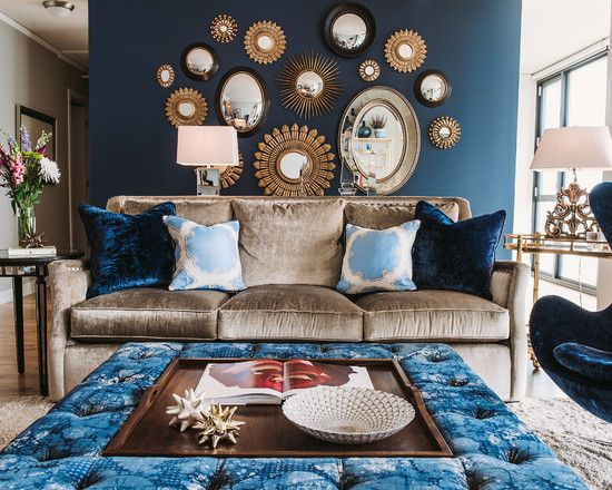 Light-brown-sofa-and-blue-egg-chair-with-mirrored-furniture-dining .