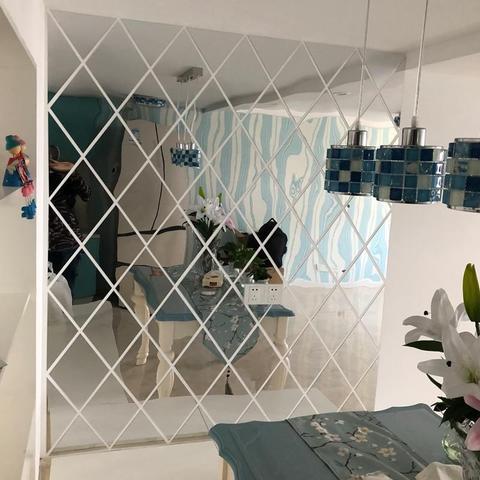 Mirror, Wall Mirror Diamonds Triangles Wall Art Acrylic Mirr