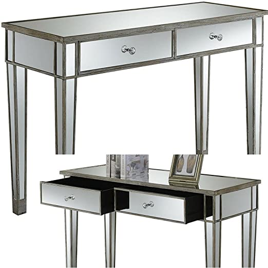 Amazon.com: Mirrored Console Table with Drawers White Wood and .