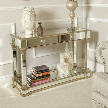 Andreas Champagne Gold Mirrored 2 Drawer Console Table - Buy 2 .
