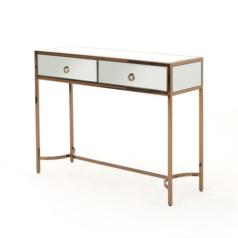 Arthur Modern Console Table Mirrored/Rose Gold - Christopher .