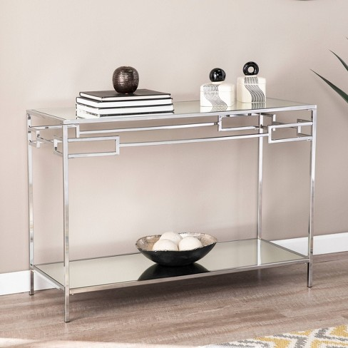 Deling Mirrored Console Table Chrome - Aiden Lane : Targ