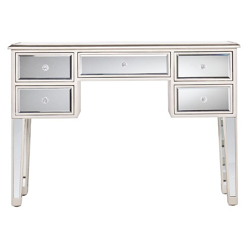 Tobias Mirrored Desk/Console Table - Silver - Aiden Lane : Targ