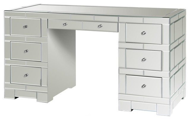 Gidget Hollywood Regency Silver Mirrored Desk - Transitional .