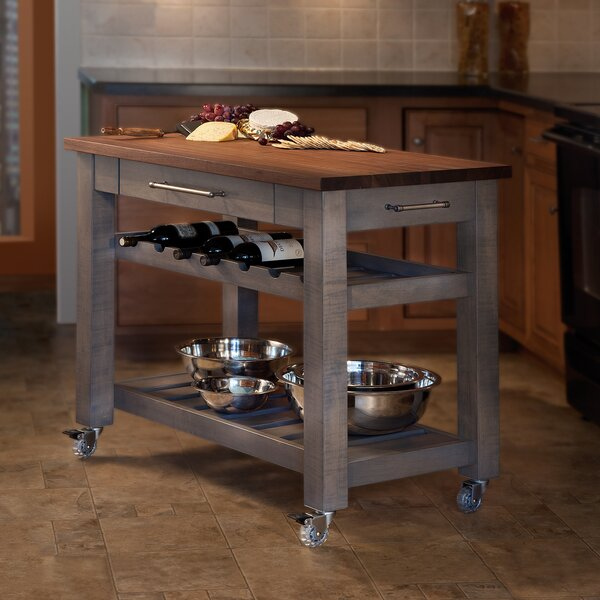 Metro Mobile Kitchen Island with Solid Walnut Top & Reviews | Joss .