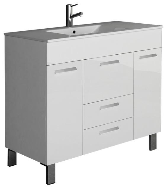 Venus Modern Bathroom Vanity Wall Mount Integrated Sink .