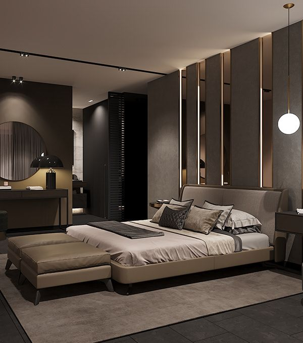 Bedroom in contemporary style on Behance | Luxury bedroom master .