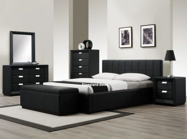Bedroom:Contemporary Black Bedroom Furniture Sleepland Rossi Black .
