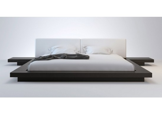 Wanda Wenge & White Modern Platform Bed | Contemporary Be