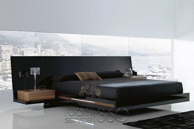 Luxor 923 Modern Platform Bed in High Gloss Black Lacquer and .