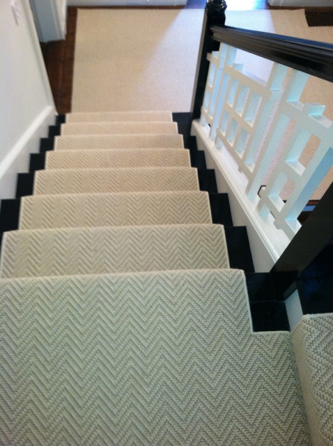 Stair Runner Install Boston, MA - Contemporary - Staircase .
