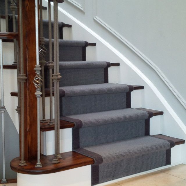 Grey carpet stair runner on dark wood stairs | Carpet stairs .