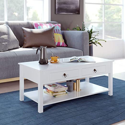 Amazon.com: HOMECHO Coffee Table White Center Tables Living Room .