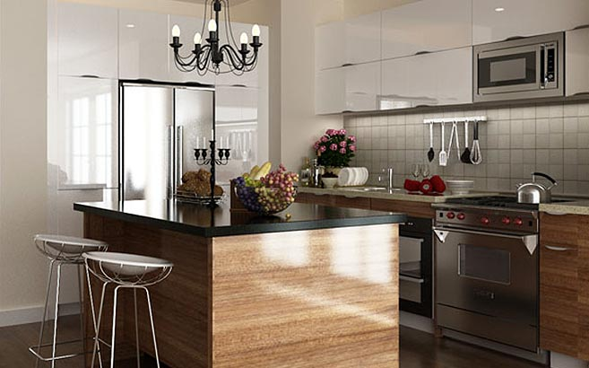 Affordable Apartment Modern Kitchen Cabinet Proje