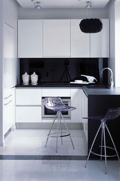 4 - Λευκές επιλογές | Small apartment kitchen, Small modern .