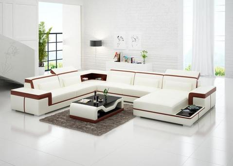 Living Room Furniture, Leather Living Room Sofa Set & Coffee Tab