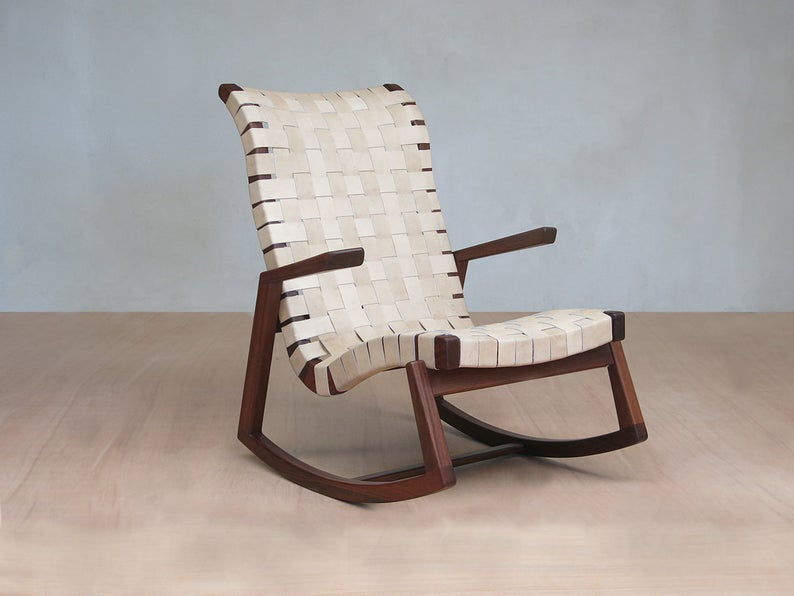 Mid Century Modern Rocking Chair Natural Leather Handwoven | Et