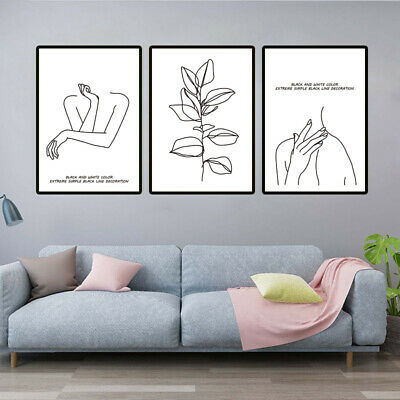 Set Of 3 Line Drawing Nordic Minimalist Canvas Painting Modern .