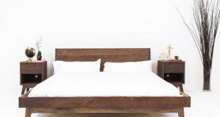 Walnut Platform Bed Frame, Mid Century Modern Bed, Wood Bed frame .