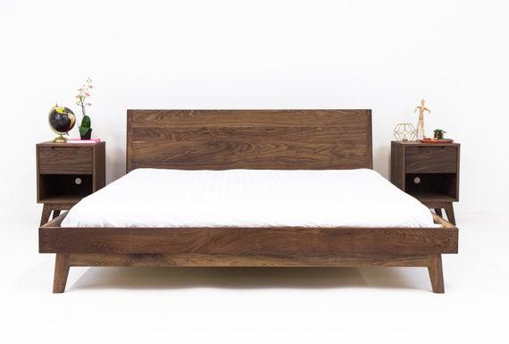 Walnut Platform Bed Frame Mid Century Modern Bed Wood Bed | Et