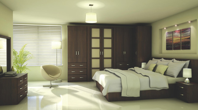 Contemporary Walnut Effect Modular Bedroom Furniture System .