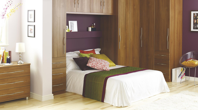 Contemporary Walnut Style Modular Bedroom Furniture System .