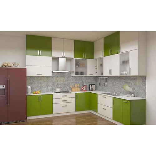 Hindustan PVC Door Profile Green And White Modular Kitchen Cabinet .