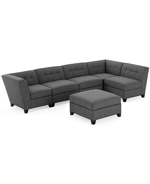 Furniture CLOSEOUT! Harper Fabric 6-Piece Modular Sectional Sofa .